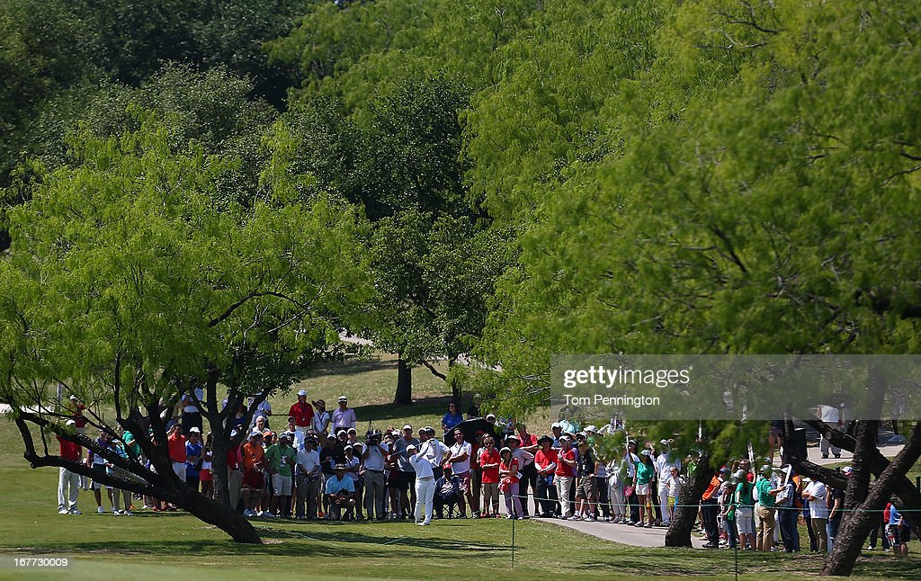 Inbee Park of South Korea hits a shot during the final round of the 2013 North Texas LPGA Shootout at the Las Colinas Counrty Club on April 28, 2013 in Irving, Texas.
