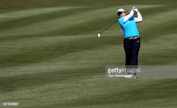Inbee Park of South Korea hits a shot during the first round of the 2013 North Texas LGPA Shootout at the Las Colinas Country Club on April 25 2013...