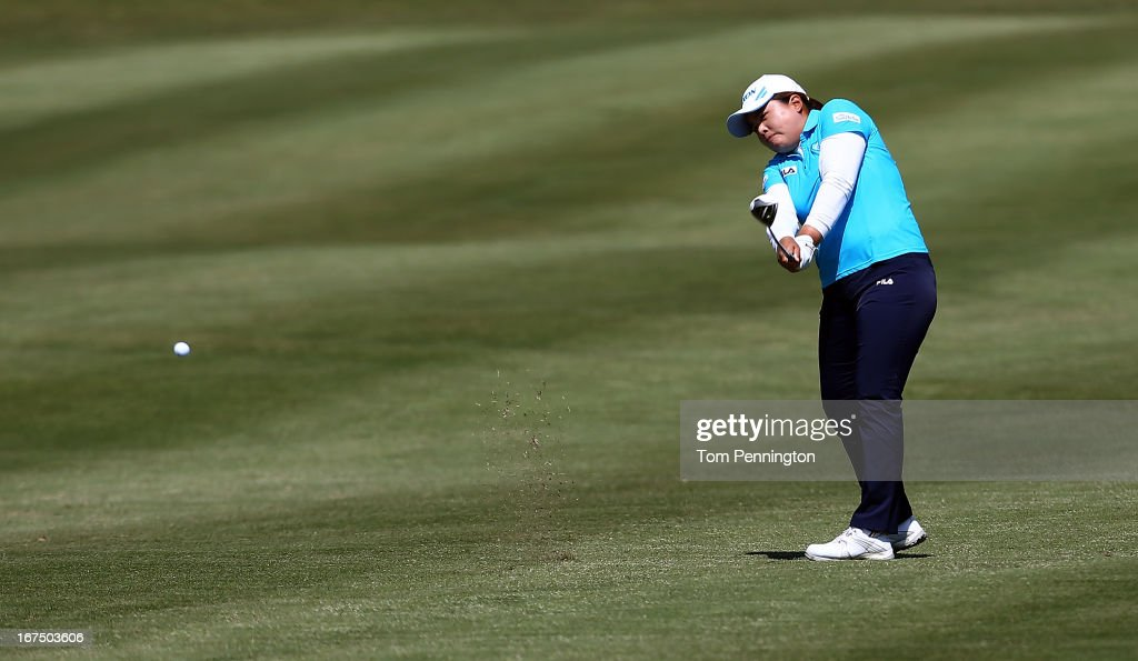 <a gi-track='captionPersonalityLinkClicked' href=/galleries/search?phrase=Inbee+Park&family=editorial&specificpeople=4532692 ng-click='$event.stopPropagation()'>Inbee Park</a> of South Korea hits a shot during the first round of the 2013 North Texas LGPA Shootout at the Las Colinas Country Club on April 25, 2013 in Irving, Texas.