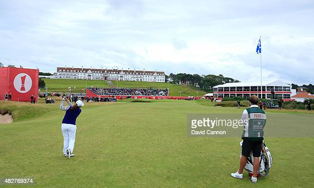 Inbee Park of South Korea hits her 2nd shot on the 18th hole during the Final Round of the Ricoh Women's British Open at Turnberry Golf Club on...