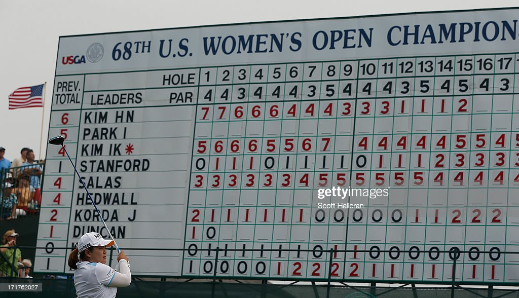 <a gi-track='captionPersonalityLinkClicked' href=/galleries/search?phrase=Inbee+Park&family=editorial&specificpeople=4532692 ng-click='$event.stopPropagation()'>Inbee Park</a> of South Korea hits her shot on the first hole during the second round of the 2013 U.S. Women's Open at Sebonack Golf Club on June 28, 2013 in Southampton, New York.