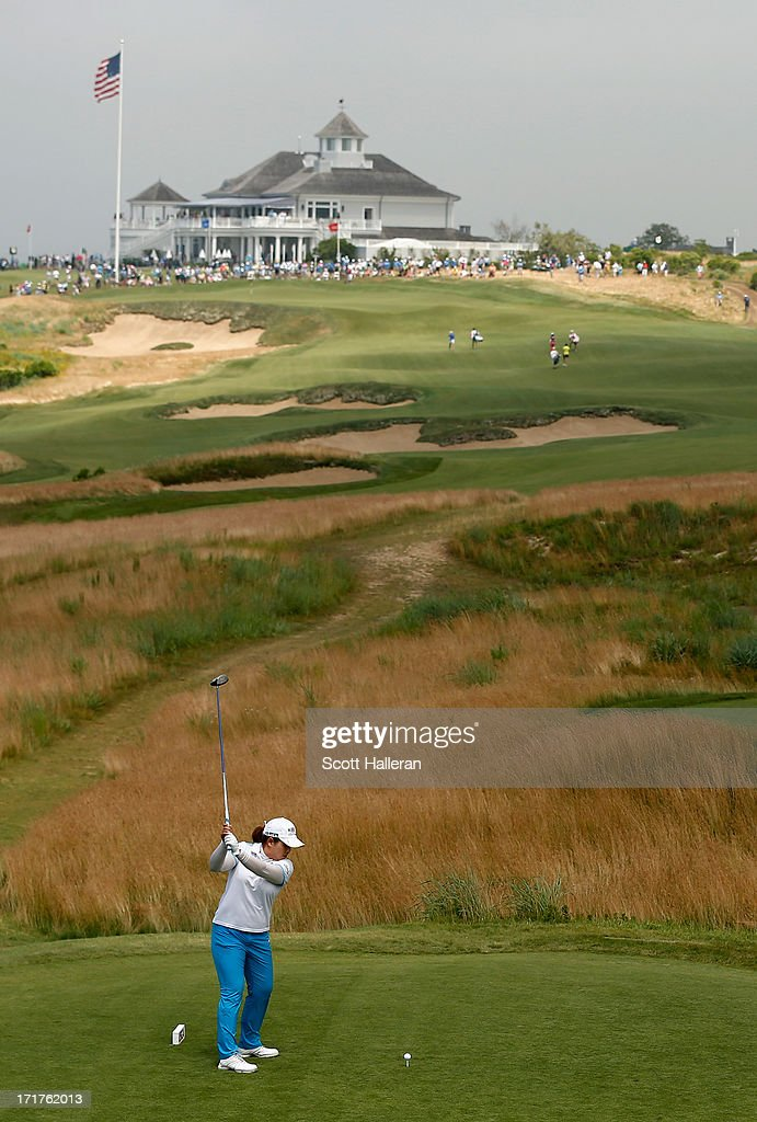 <a gi-track='captionPersonalityLinkClicked' href=/galleries/search?phrase=Inbee+Park&family=editorial&specificpeople=4532692 ng-click='$event.stopPropagation()'>Inbee Park</a> of South Korea hits her shot on the second hole during the second round of the 2013 U.S. Women's Open at Sebonack Golf Club on June 28, 2013 in Southampton, New York.
