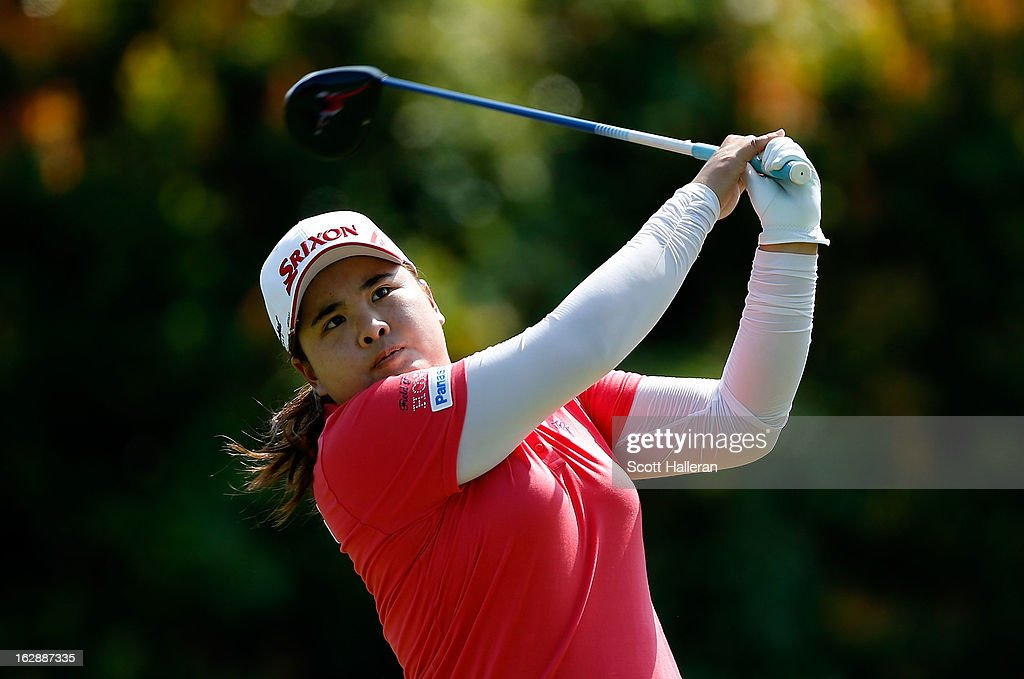 Inbee Park of South Korea hits her tee shot on the 16th hole during the second round of the HSBC Women's Champions at the Sentosa Golf Club on March 1, 2013 in Singapore, Singapore.