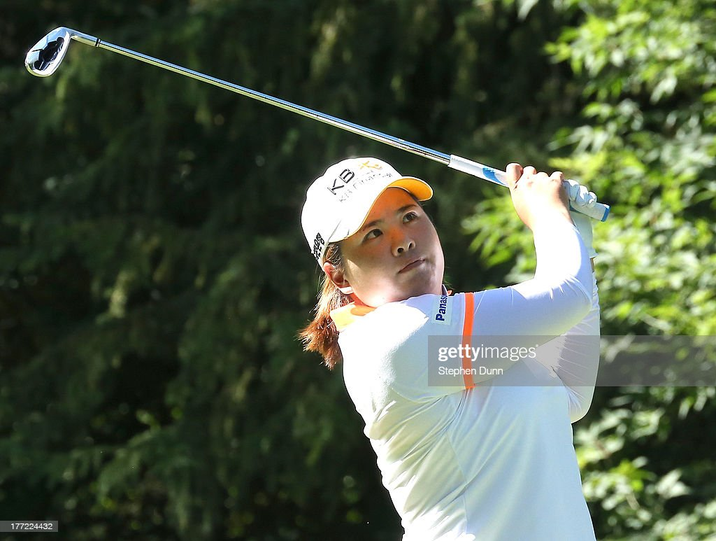 <a gi-track='captionPersonalityLinkClicked' href=/galleries/search?phrase=Inbee+Park&family=editorial&specificpeople=4532692 ng-click='$event.stopPropagation()'>Inbee Park</a> of South Korea hits her tee shot on the 16th hole during the CN Canadian Women's Open at Royal Mayfair Golf Club on August 22, 2013 in Edmonton, Alberta, Canada.