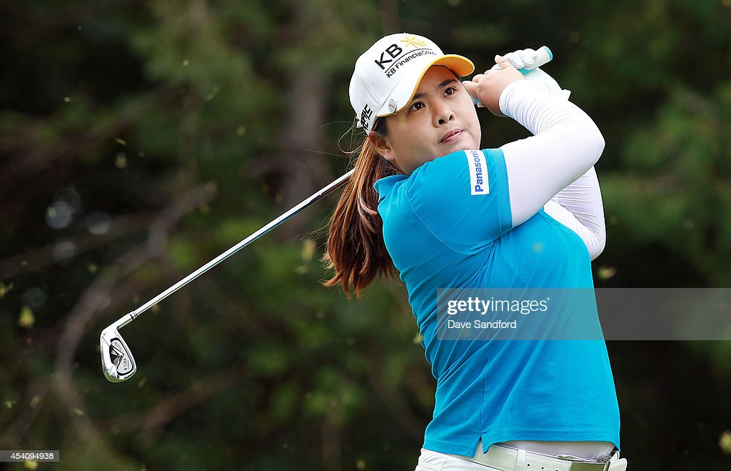 <a gi-track='captionPersonalityLinkClicked' href=/galleries/search?phrase=Inbee+Park&family=editorial&specificpeople=4532692 ng-click='$event.stopPropagation()'>Inbee Park</a> of South Korea hits her tee shot on the 8th hole during the fourth round of the LPGA Canadian Pacific Women's Open at the London Hunt and Country Club on August 24, 2014 in London, Ontario, Canada.