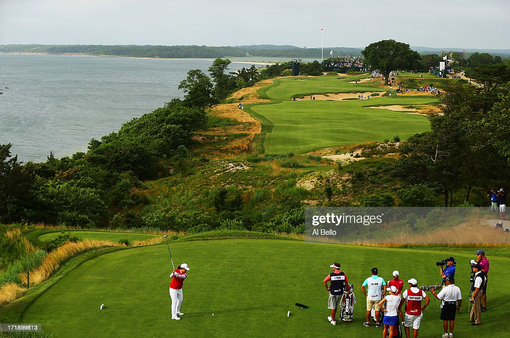 Inbee Park of South Korea hits the ball on the eighteenth tee during the third round of the 2013 U.S. Women's Open at Sebonack Golf Club on June 29, 2013 in Southampton, New York.
