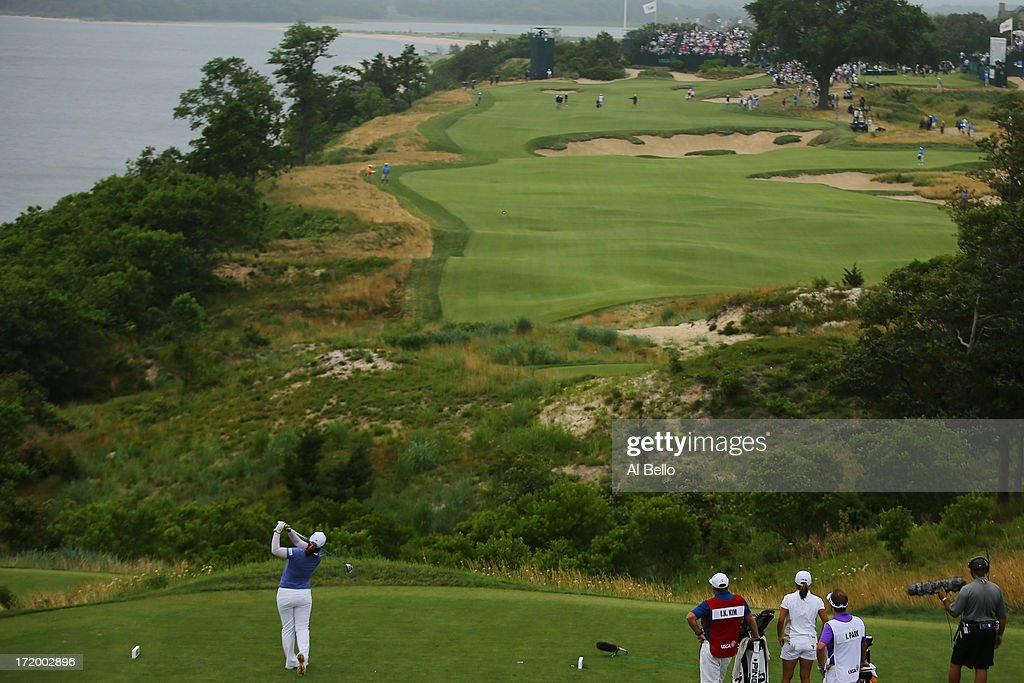 Inbee Park of South Korea hits the ball on the eighteenth tee during the final round of the 2013 U.S. Women's Open at Sebonack Golf Club on June 30, 2013 in Southampton, New York.
