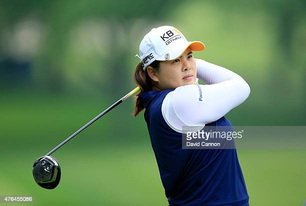 Inbee Park of South Korea in action during the proam as a preview for the 2015 KPMG Women's PGA Championship on the West Course at Westchester...