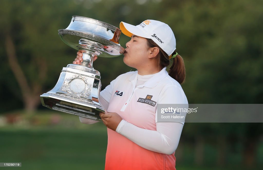 <a gi-track='captionPersonalityLinkClicked' href=/galleries/search?phrase=Inbee+Park&family=editorial&specificpeople=4532692 ng-click='$event.stopPropagation()'>Inbee Park</a> of South Korea kisses the trophy after winning the Wegmans LPGA Championship at Locust Hill Country Club on June 9, 2013 in Pittsford, New York