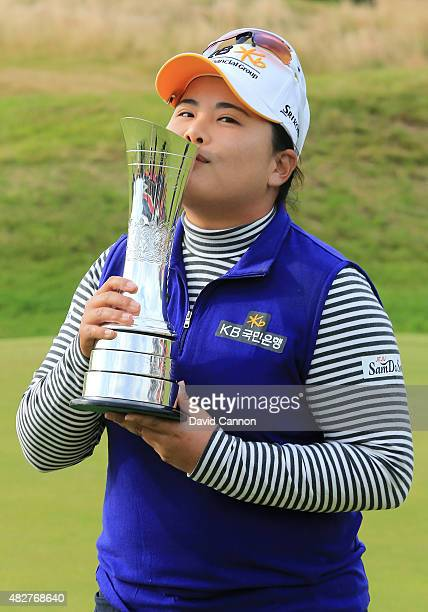 Inbee Park of South Korea kisses the trophy following her victory during the Final Round of the Ricoh Women's British Open at Turnberry Golf Club on...