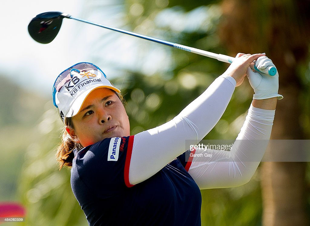 Inbee Park of South Korea, plays a tee shot, during the last day of the Swinging Skirts 2013 World Ladies Masters, at Miramar Golf & Country Club on December 8, 2013 in Taipei, Taiwan.