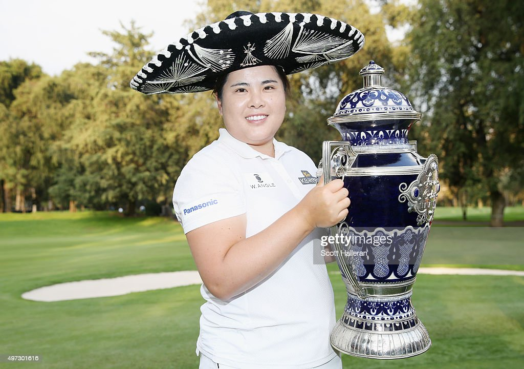 <a gi-track='captionPersonalityLinkClicked' href=/galleries/search?phrase=Inbee+Park&family=editorial&specificpeople=4532692 ng-click='$event.stopPropagation()'>Inbee Park</a> of South Korea poses with the trophy after her three-stroke victory at the Lorena Ochoa Invitational Presented By Banamex at the Club de Golf Mexico on November 15, 2015 in Mexico City, Mexico..