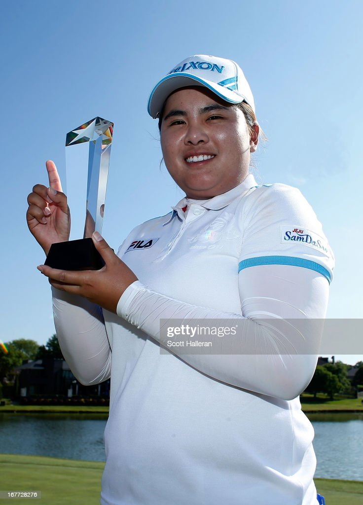 Inbee Park of South Korea poses with the trophy after winning the 2013 North Texas LPGA Shootout at the Las Colinas Counrty Club on April 28, 2013 in Irving, Texas.