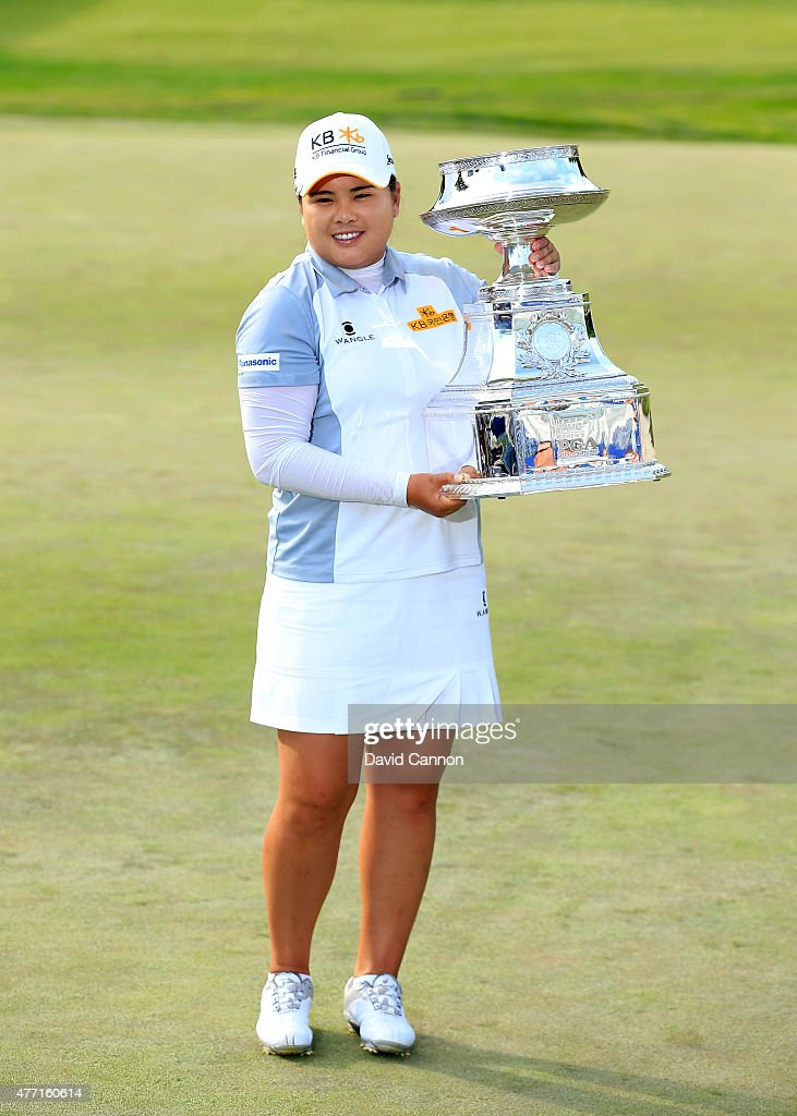 <a gi-track='captionPersonalityLinkClicked' href=/galleries/search?phrase=Inbee+Park&family=editorial&specificpeople=4532692 ng-click='$event.stopPropagation()'>Inbee Park</a> of South Korea proudly holds the trophy after her 5 shot victory in the final round of the 2015 KPMG Women's PGA Championship on the West Course at Westchester Country Club on June 14, 2015 in Harrison, New York.