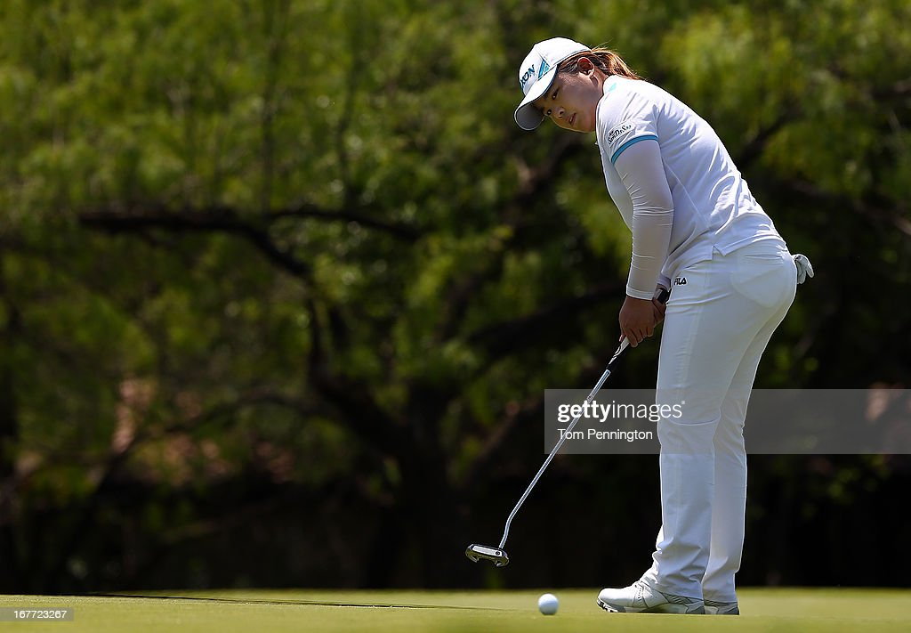 Inbee Park of South Korea putts the ball during the final round of the 2013 North Texas LPGA Shootout at the Las Colinas Counrty Club on April 28, 2013 in Irving, Texas.