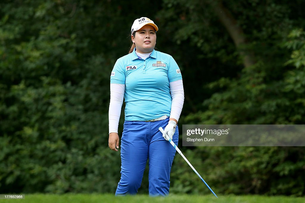 <a gi-track='captionPersonalityLinkClicked' href=/galleries/search?phrase=Inbee+Park&family=editorial&specificpeople=4532692 ng-click='$event.stopPropagation()'>Inbee Park</a> of South Korea reacts to her tee shot on the fifth hole during the final round of the CN Canadian Women's Open at Royal Mayfair Golf Club on August 25, 2013 in Edmonton, Alberta, Canada.