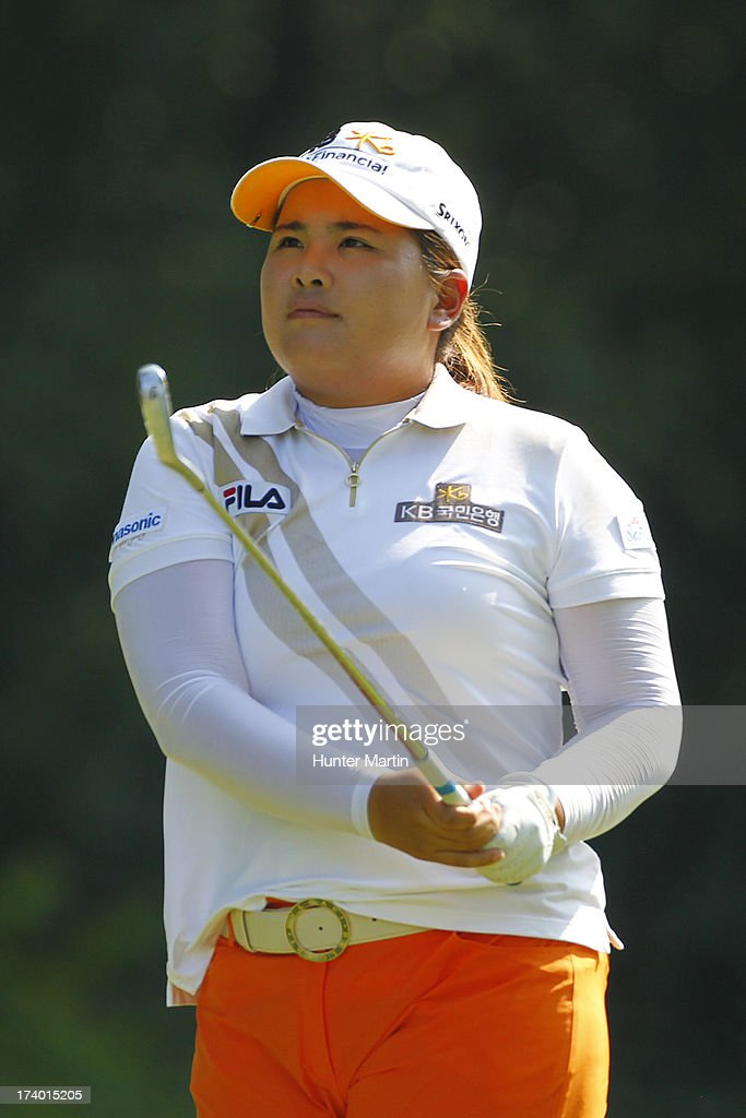 Inbee Park of South Korea watches her tee shot on the eighth hole during round two of the Marathon Classic presented by Owens Corning & O-I on July 19, 2013 in Sylvania, Ohio.