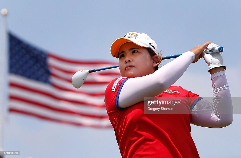 <a gi-track='captionPersonalityLinkClicked' href=/galleries/search?phrase=Inbee+Park&family=editorial&specificpeople=4532692 ng-click='$event.stopPropagation()'>Inbee Park</a> of South Korea watches her tee shot on the third hole during the third round of the 2013 U.S. Women's Open at Sebonack Golf Club on June 29, 2013 in Southampton, New York.