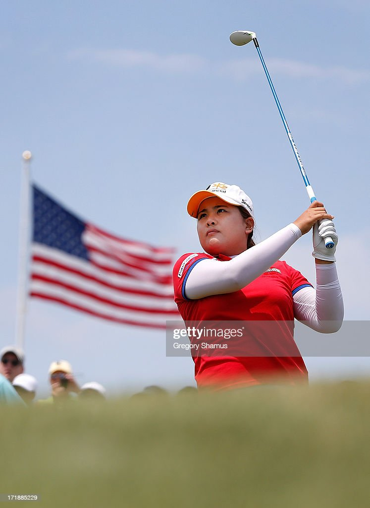 Inbee Park of South Korea watches her tee shot on the third hole during the third round of the 2013 U.S. Women's Open at Sebonack Golf Club on June 29, 2013 in Southampton, New York.