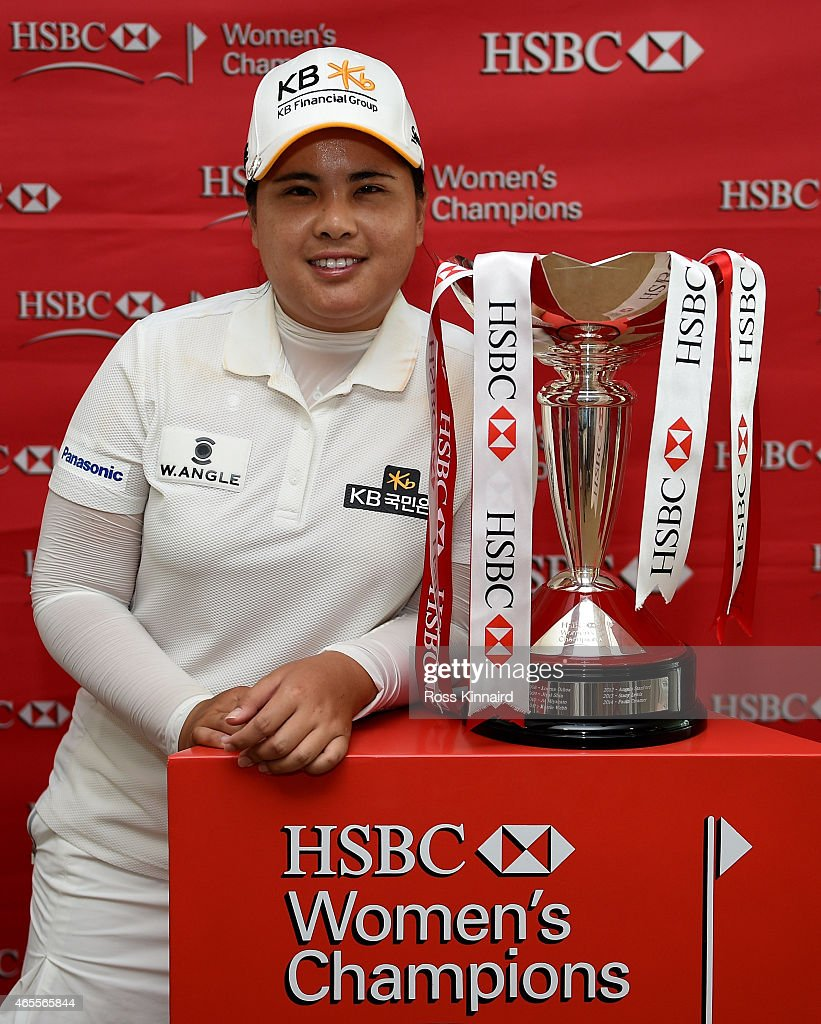 Inbee Park of South Korea with the winners after the final round of the HSBC Women's Champions at the Sentosa Golf Club on March 8 2015 in Singapore...