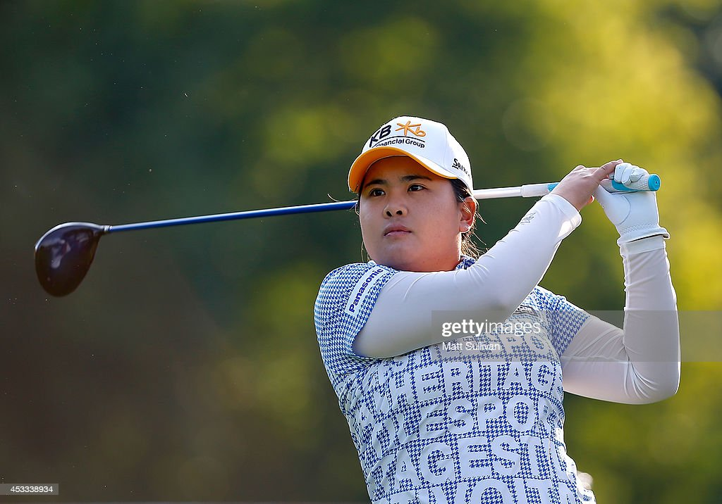 <a gi-track='captionPersonalityLinkClicked' href=/galleries/search?phrase=Inbee+Park&family=editorial&specificpeople=4532692 ng-click='$event.stopPropagation()'>Inbee Park</a> watches her tee shot on the 11th hole during the second round of the Meijer LPGA Classic at Blythefield Country Club on August 8, 2014 in Belmont, Michigan.