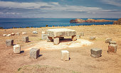 Inca ceremonial table used to be probably place of human sacrifices at Isla del Sol (Island of the Sun) in Titicaca lake, Chincana, Bolivia