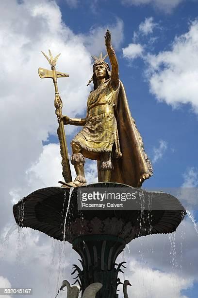 Inca warrior statue on fountain, Plaza de Armas.