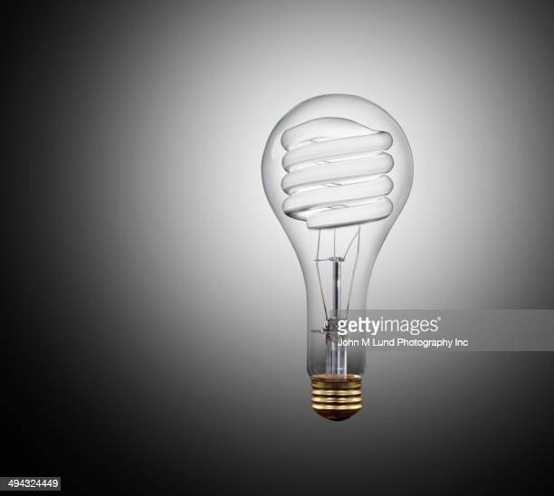 Incandescent light bulb inside of fluorescent bulb