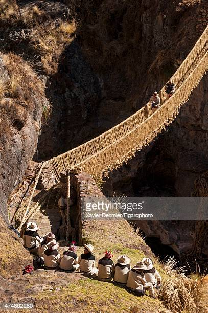 Incas are photographed for Le Figaro Magazine on June 3 2014 in the Province of Canas Peru The Inca's Q'eswachaka Bridge is the last hanging rope...