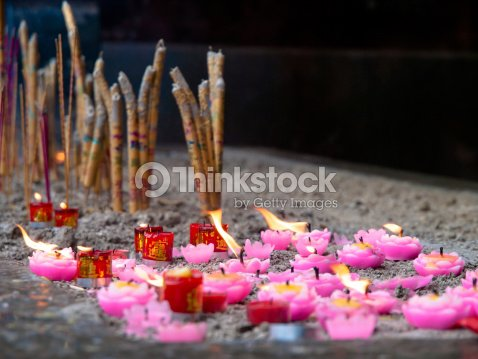 incense and candles : Stock Photo