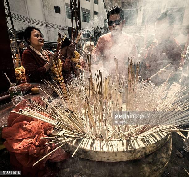 Incense at Guan Yin Shrine Chinatown Bangkok