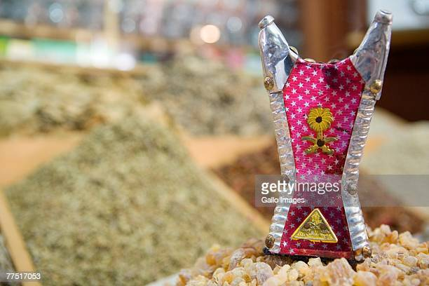 Incense burner and frankincense in souq, Deira, UAE. United Arab Emirates