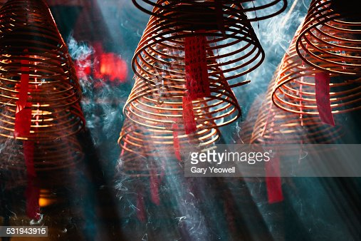 Incense burners in Man Mo Temple, Hong Kong