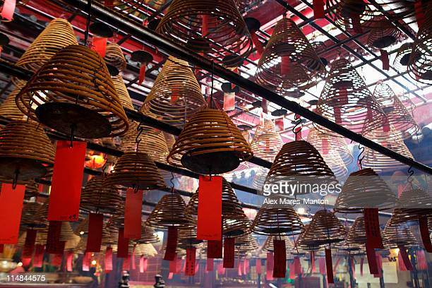 Incense hanging from ceiling in Man Mo temple, Hong Kong