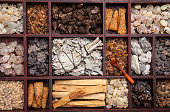 Various kinds of popular incense : myrrh, frankincense, messer, copaiba, salvia apiana, borena, gowe  - thiouraye, palo santo
