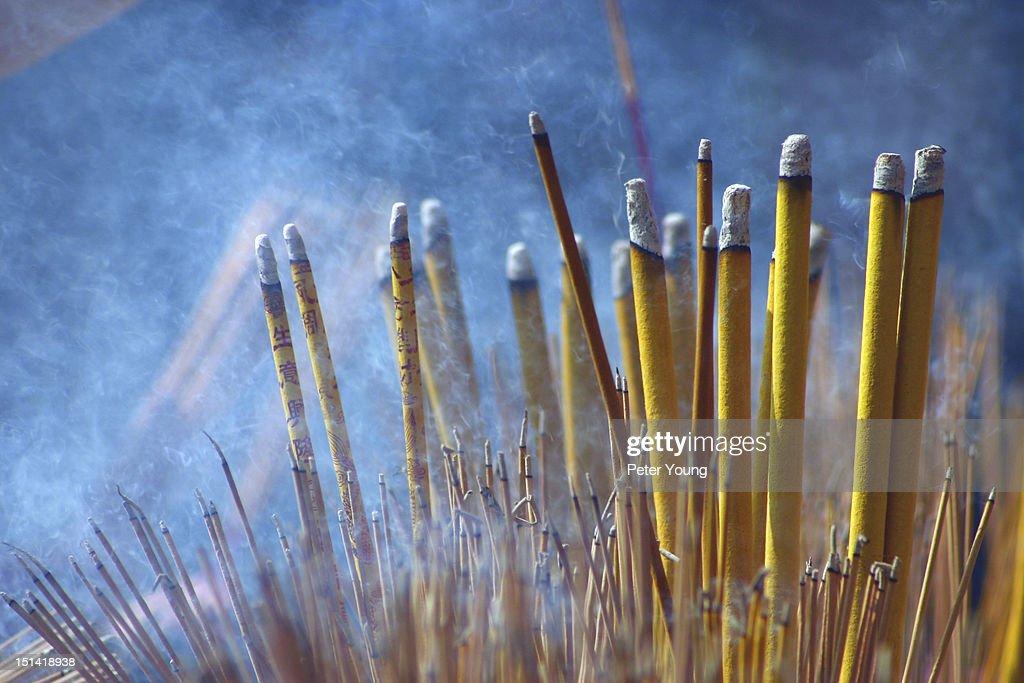Incense sticks at Wong Tai Sin Temple, Kowloon : Stock Photo