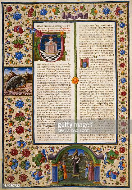 Incipit from the First Book of Maccabees from Volume I of the Bible of Borso d'Este illuminated by Taddeo Crivelli and others Latin manuscript 422423...