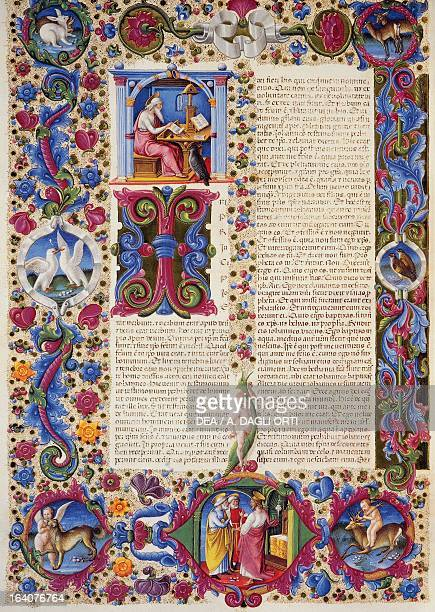 Incipit from the Gospel according to John from Volume II of the Bible of Borso d'Este illuminated by Taddeo Crivelli and others Latin manuscript...