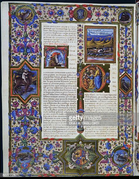 Incipit of the Parable of Solomon from the first volume of the Bible of Borso d'Este 14551461 illuminated by Taddeo Crivelli and other authors Latin...