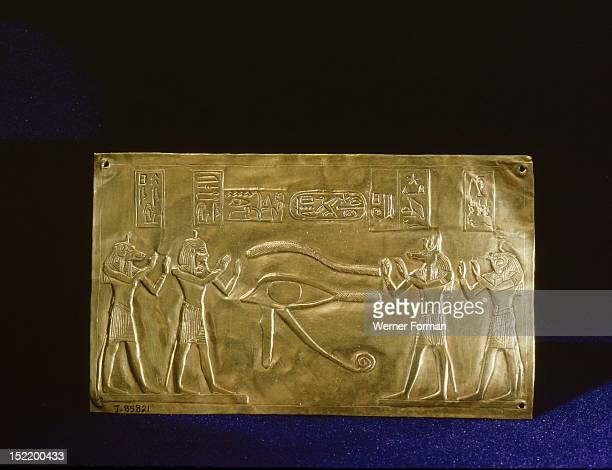 Incised and stamped gold plaque found placed over the abdominal incision in the mummified body of the king Psusennes I The restored wedjat eye of...