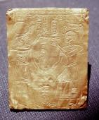Incised gold plaque depicting a Meroitic king honouring the Egyptian god HorusThe king is symbollically equated to the falcon god in his aspect as Re...