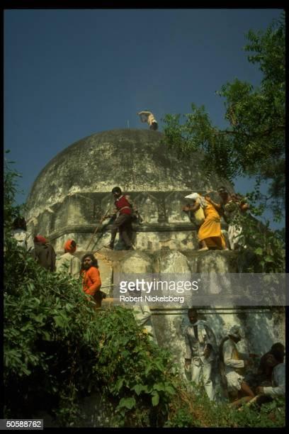 Incited Hindus rioting re razing Muslim mosque Babri Masjid erecting Hindu temple to godking Rama