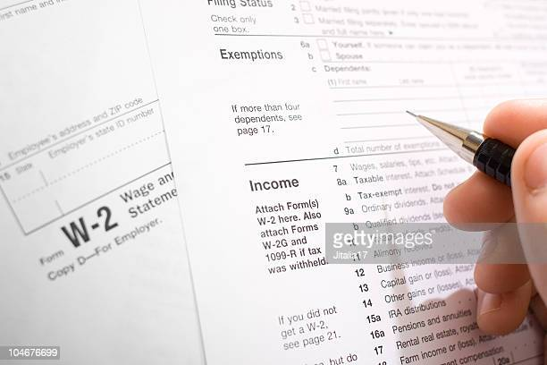 U.S. Income Tax Forms - Filling Out W-2 and 1040