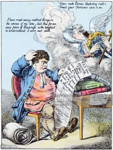 John Bull scratches his head at William Pitt's introduction of Income Tax Pitt is shown as angel playing harp Handcoloured cartoon in style of...