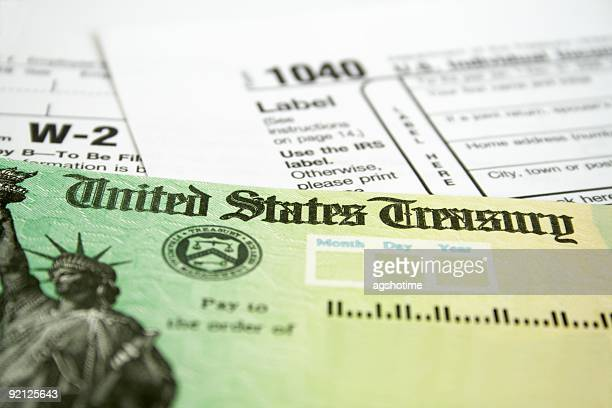 Income tax refund check on tax forms