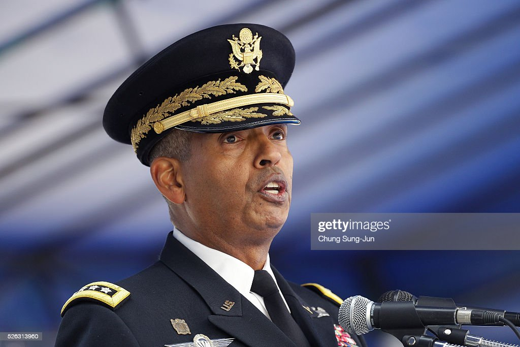 Incoming commander of United Nations Command (UNC), Combined Forces Command (CFC), and United States Forces Korea (USFK), U.S. Gen. Vincent Brooks speaks during a change-of-command ceremony at the Yonsan U.S. army base on April 30, 2016 in Seoul, South Korea. Brooks will succeed Gen. Curtis Scaparrotti, who had led 28,500 U.S. troops stationed in South Korea.