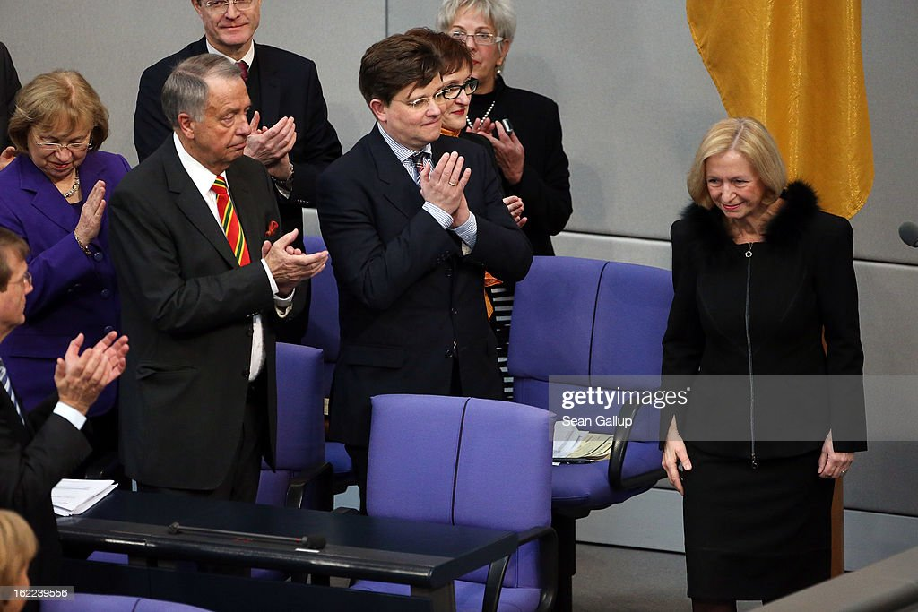 Incoming German Education Minister Johanna Wanka (R) receives applause from colleagues after she took her oath of office at the Bundestag on February 21, 2013 in Berlin, Germany. Outgoing Education Minister Annette Schavan resigned recently following confirmation from the University of Dusseldorf that she had plagiarized portions of her doctoral thesis while she was a student 30 years ago.
