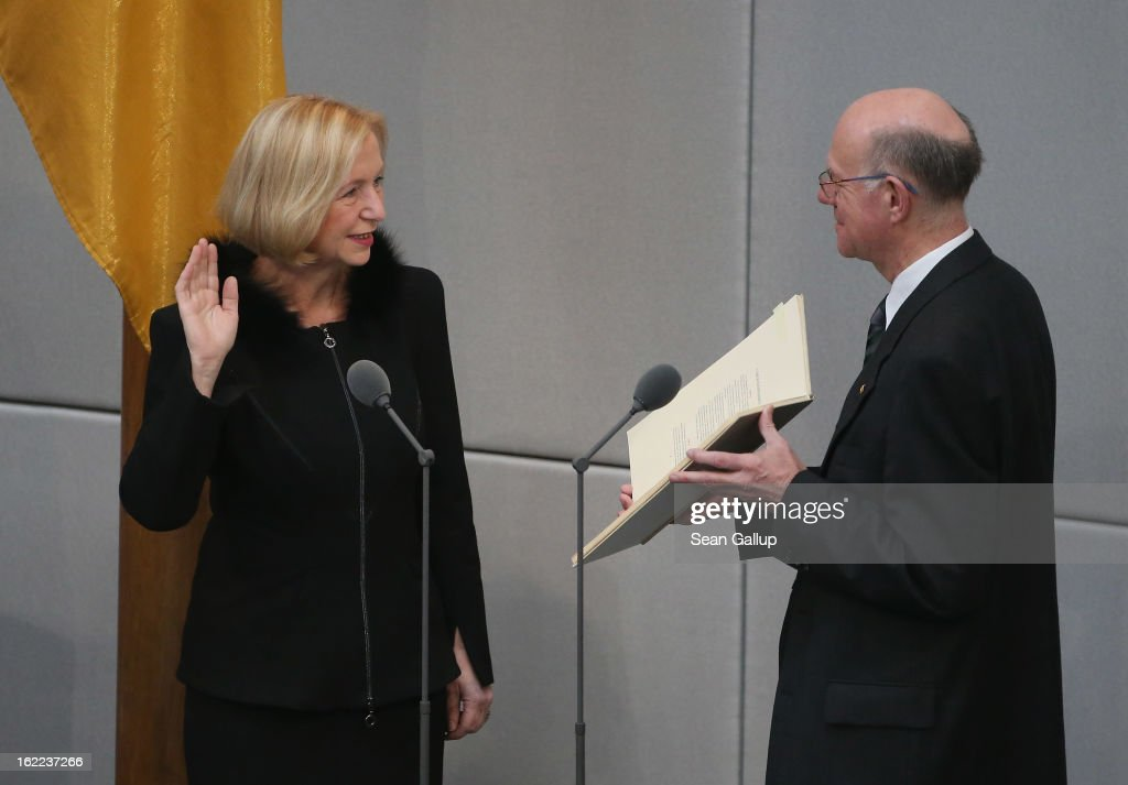 Incoming German Education Minister Johanna Wanka takes her oath of office from Bundestag President Norbert Lammert at the Bundestag on February 21, 2013 in Berlin, Germany. Outgoing Education Minister Annette Schavan resigned recently following confirmation from the University of Dusseldorf that she had plagiarized portions of her doctoral thesis while she was a student 30 years ago.