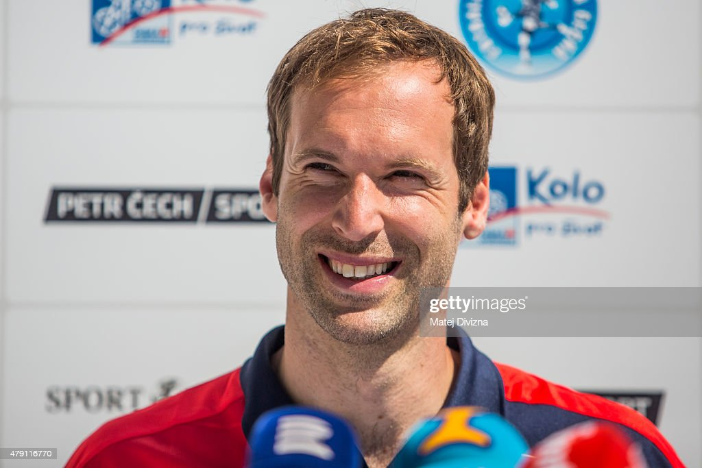 Incoming goalkeeper of Arsenal <a gi-track='captionPersonalityLinkClicked' href=/galleries/search?phrase=Petr+Cech&family=editorial&specificpeople=212890 ng-click='$event.stopPropagation()'>Petr Cech</a> smiles during his press conference on July 1, 2015 in Prague, Czech Republic.