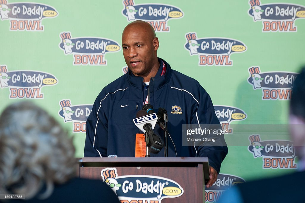 Incoming head coach of the Kent State Golden Flashes Paul Haynes speaks to the press before their game against the Arkansas State Red Wolves on January 6, 2013 at Ladd-Peebles Stadium in Mobile, Alabama. Arkansas State defeated Kent State 17-13.